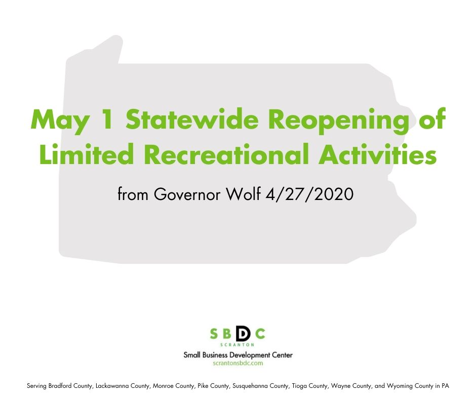 Governor Announces May 1 Statewide Reopening of Limited Outdoor Recreational Activities