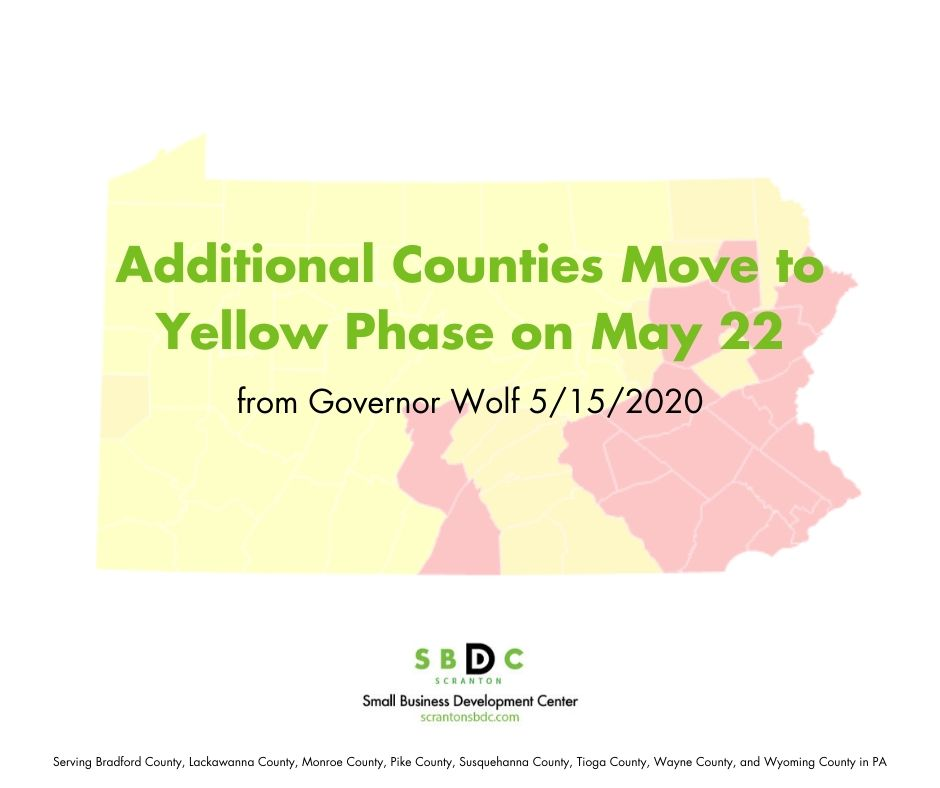 Governor Wolf Announces 12 More Counties to Move to Yellow Phase on May 22